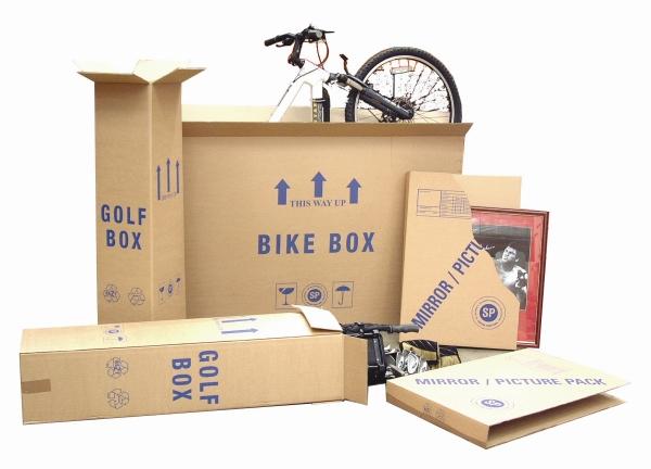 Packaging supplies - Golf Box, Bike Box, Mirror/Picture Pack. Harrogate Self Storage.